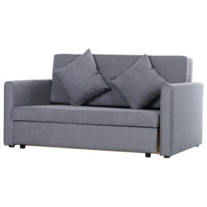 HOMCOM Cotton Upholstered Solid Wood 3-in-1 2-Seater Sofa Bed Grey