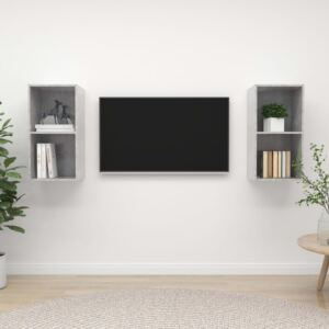 Wall-mounted TV Cabinets 2 pcs Concrete Grey Chipboard