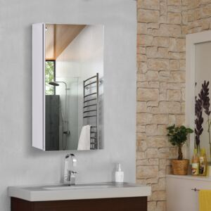 HOMCOM Stainless Steel Mirror Storage Cabinet Wall-mounted Bathroom Wall Mounted Glass Cupboard 4 Pattern-Silver