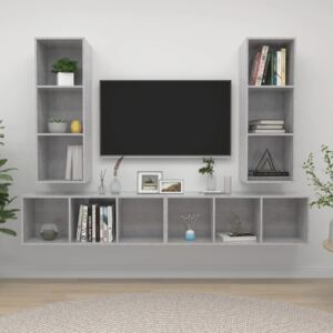 Wall-mounted TV Cabinets 4 pcs Concrete Grey Chipboard
