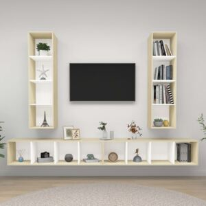 Wall-mounted TV Cabinets 4 pcs White and Sonoma Oak Chipboard