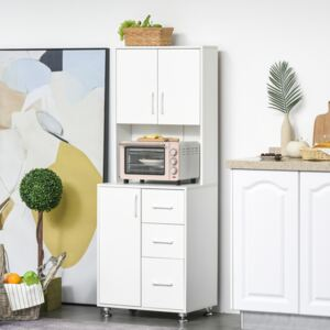 HOMCOM Modern Kitchen Buffet with Hutch Pantry Storage,2 Cabinets, 3 Drawers and Open Countertop, White