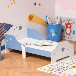 HOMCOM Kids Toddler Wooden Bed Round Edged with Guardrails Stars Image 143 x 74 x 59 cm Blue