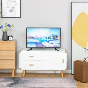 HOMCOM Modern TV Stand for TVs up to 45'' Flat Screen with Bamboo Legs, TV Console Cabinet with Drawers and Cupboard, Living Room and Office, White