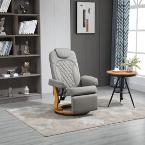 HOMCOM PU Recliner Chair with Footrest, Headrest, Round Wood Base, Lounge Reading Armchair for Living Room, Bedroom, Office, Grey