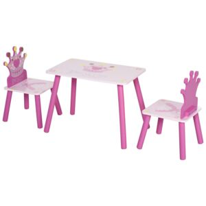 HOMCOM 3-Piece Set Kids Wooden Table Chair with Crown Pattern Easy to Clean Gift for Girls Toddlers Age 3 to 8 Years Old Pink
