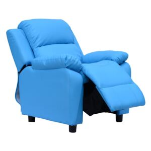 HOMCOM Kids Children Recliner Lounger Armchair Games Chair Sofa Seat PU Leather Look w/ Storage Space on Arms (Blue)