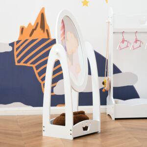 HOMCOM Free Standing Full Length Mirror, Child's Dressing Mirror with storage shelf 360° Rotation MDF, For 3- 8 Years Old, 40L x 30W x 104H cm
