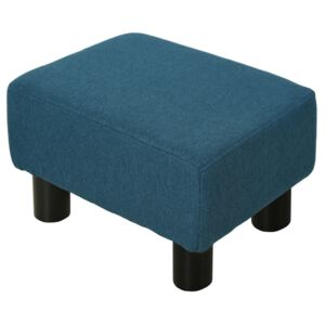 HOMCOM Linen Fabric Footstool Footrest Small Seat Foot Rest Chair Ottoman Dark Blue Home Office with Legs 40 x 30 x 24cm