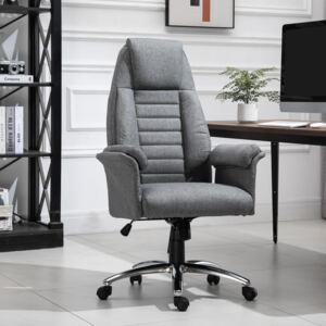 HOMCOM High Back Office Chair Home Computer Linen-Feel Fabric with Wheels, Double-Tier Armrest, Grey