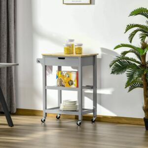 HOMCOM Kitchen Trolley Utility Cart on Wheels with Rubberwood Worktop, Towel Rack, Storage Shelves & Drawer for Dining Room, Grey