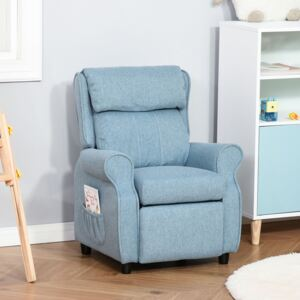 HOMCOM Kids Recliner Sofa Angle Adjustable Single Lounger Armchair Children Games Chair with Footrest for 3-8 years, Blue