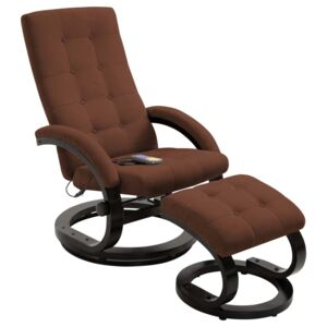 Massage Recliner with Footrest Brown Suede-touch Fabric