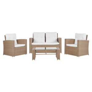 Garden Sofa Set Light Brown Faux Rattan with Beige Cushions with Coffee Table 4 Seater Beliani