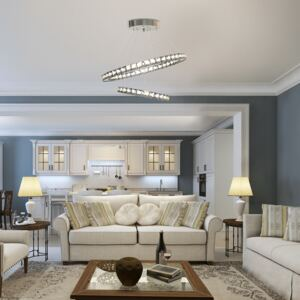 HOMCOM Modern LED Chandelier with 2 Crystal Rings, Dimmable Pendent Ceiling Light Cool Warm White with Adjustable Cable Remote Controller Silver