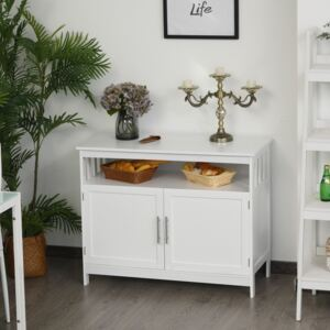 HOMCOM Kitchen Console Table/Buffet Sideboard/Wooden Storage Table with 2-Level Cabinet and Open Shelf, White