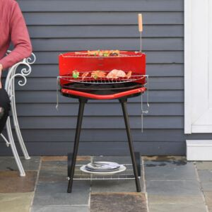 Outsunny Charcoal Barbecue Grill, 67x51x82cm-Red/Black
