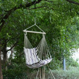 Outsunny Hanging Swing Chair-Brown/White Stripes