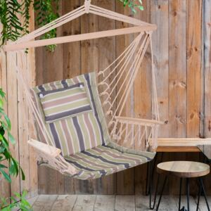 Outsunny 100x106cm Hanging Hammock Chair Thick Rope Frame Pillow Wooden Arms Stripe Multicoloured