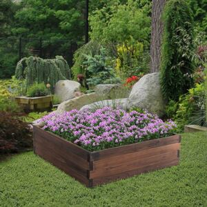 Outsunny Wooden Raised Garden Bed Planter Grow Containers for Outdoor Patio Plant Flower Vegetable Pot 80 x 80 x 22.5cm