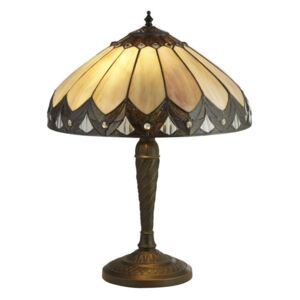 Searchlight 6706-40 Pearl Small Table Lamp In Antique Brass With Tiffany Glass - H: 530mm
