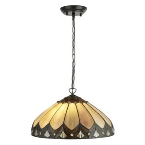 Searchlight 6702-40 Pearl Ceiling Pendant Light In Antique Brass With Tiffany Glass