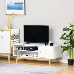 HOMCOM TV Cabinet Unit for TVs up to 50'' Flat Screen with Shelves and Door, Entertainment center for Living Room, Bedroom, White