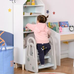 HOMCOM Two Step Stool for Kids Toddlers Ladder or Toilet Potty Training Bathroom Sink Bedroom Kitchen Helper with Non-slip Handle and Feet Pad