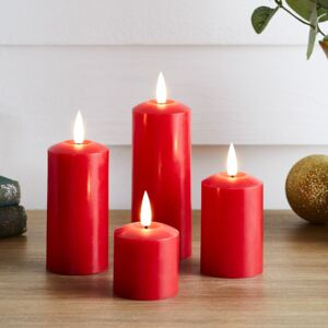 4 TruGlow® Red Slim LED Candles
