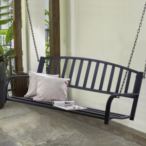 Outsunny Metal 2-Seater Outdoor Swing Chair Black