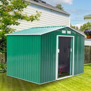Outsunny Lockable Garden Shed Large Patio Tool Metal Storage Building Foundation Sheds Box Outdoor Furniture (9 x 6 FT, Green)