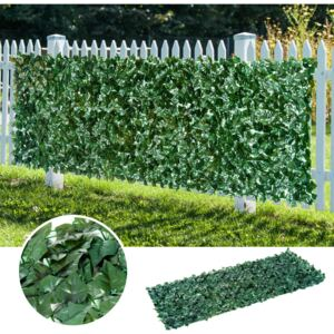 Outsunny Artificial Leaf Screen Panel, 3x1 m-Dark Green