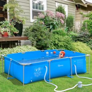 Outsunny Steel Frame Pool with Filter Pump and Filter Cartridge Rust and Reinforced Sidewalls Resistant Above Ground Pool, 315 x 225 x 75cm, Blue