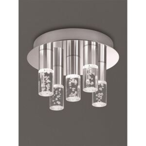 C5764 Chrome Semi Flush Ceiling Light With 5 Satin Nickel Bubbled Effect Stems
