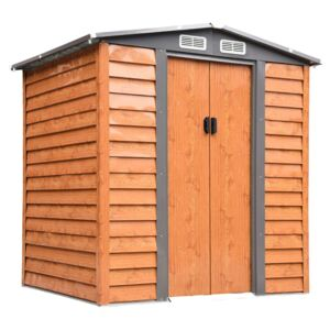 Outsunny 6ft x 5ft Metal Garden Shed House Hut Gardening Tool Storage with Foundation and Ventilation Brown 193L x 152W x 203H cm