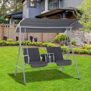 Outsunny Steel Frame 2-Seater Swing Chair w/ Table Grey