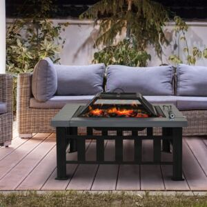 Outsunny Square Metal Fire Pit With Waterproof Cover-Black/Grey
