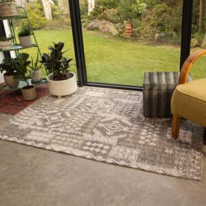 Brown Natural Tribal Woven Sustainable Recycled Cotton Rug | Kendall