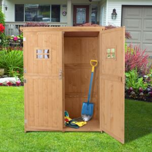 Outsunny Garden Shed W/Double Door, Pine Wood, 127.5Lx50Wx164H cm