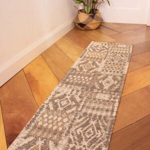 Brown Natural Tribal Woven Sustainable Recycled Cotton Runner Rug | Kendall