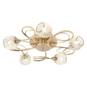 Endon 73757 Aherne Five Light Semi Flush Ceiling Light In Antique Brass Plate With Clear Bead Shades