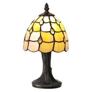 Origin 1 Light Table Lamp With 300mm Beige, Clear, Black And Gold Tiffany Shade