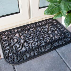 Curved Ornate Iron Black Rubber Outdoor Entrance Doormat