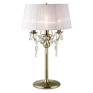 Diyas IL30065/WH Olivia 3 Light Table Lamp In Antique Brass With White Shade