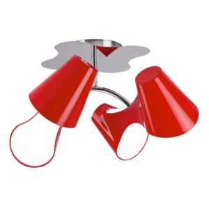 Mantra M1565 Ora 4 Light Ceiling Spot Light In Red And Chrome