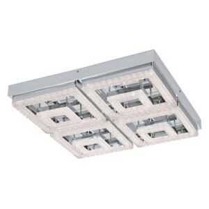 Eglo 95661 Fradelo Square LED Ceiling Light In Chrome And Crystal - L: 520mm