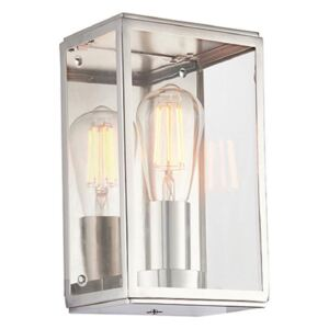 1 Light Rectangular Wall Lantern In Bright Nickel Plate With Clear Glass