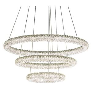3 Ring Ceiling Pendant Light In Chrome Plate And Clear Crystal Glass