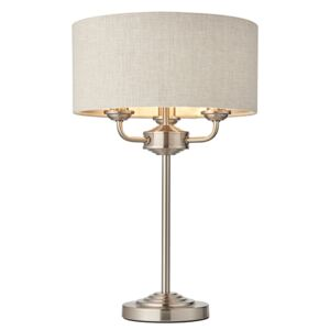 Endon Lighting 94369 Highclere Table Lamp In Brushed Chrome Finish With Natural Linen Shade