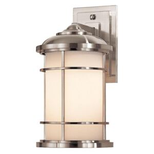FE/LIGHTHOUSE2/M Lighthouse 1 Light Medium Outdoor Wall Lantern In Brushed Steel - H:352mm